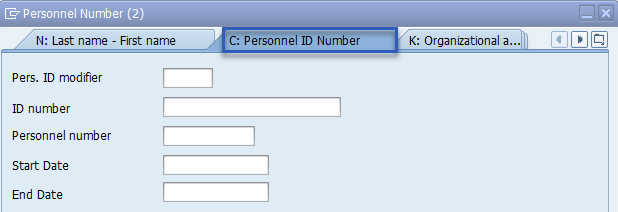 Screenshot of personnel ID number screen.