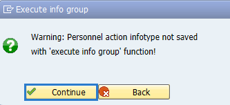 Screenshot of execute info group screen.