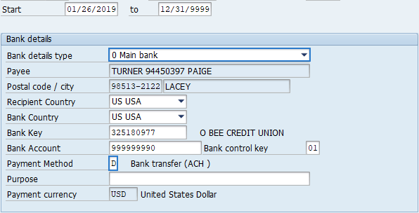 Bank Details Copy And Update Record