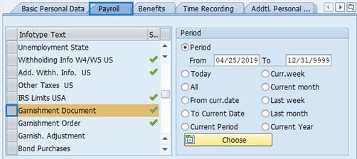 Screenshot of payroll tab.