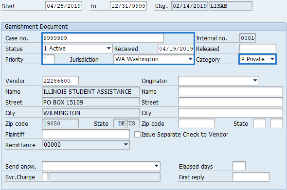 Screenshot of garnishment document screen.
