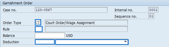 Screenshot of garnishment order screen.