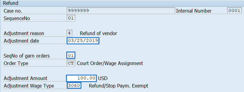 Screenshot of garnishment refund screen.