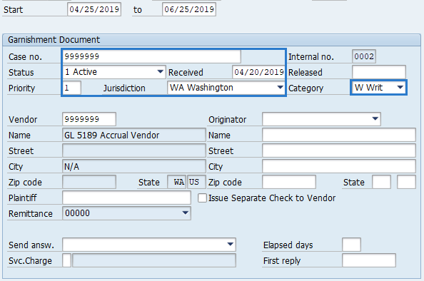 Screenshot of garnishment document record.