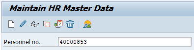 Screenshot of Maintain HR Master Data with Personnel number field