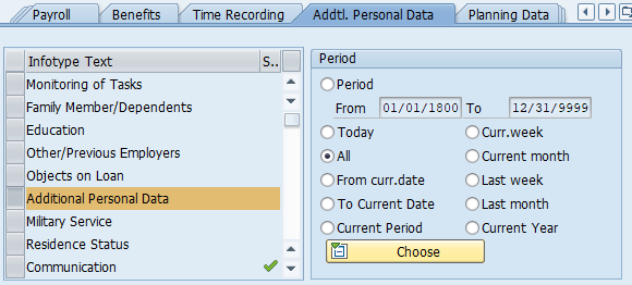 "Addtl. Personal Data tab is displayed with Additional Personal data selected and ""All"" Radio button selected"