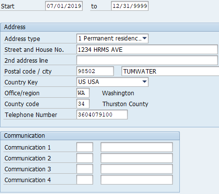 Screenshot of Address and Communications fields.
