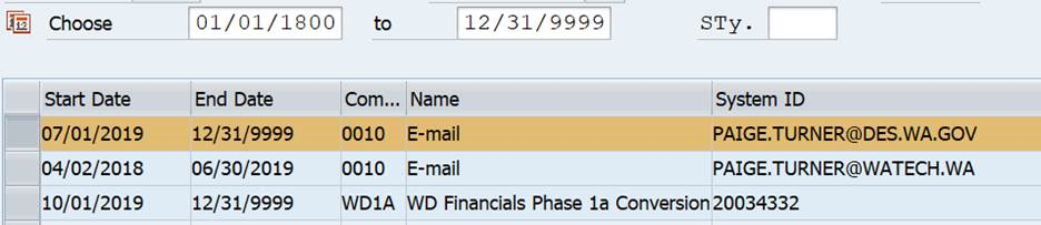 Screenshot of email records.