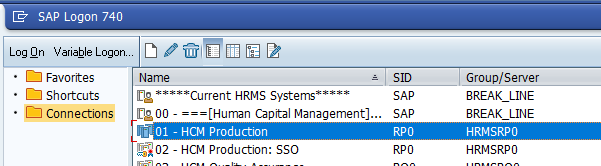 Screenshot of systems available from the SAP logon pad.