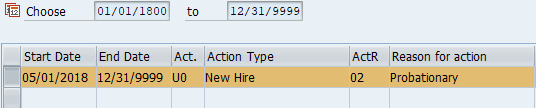 Screenshot of new hire action to correct.