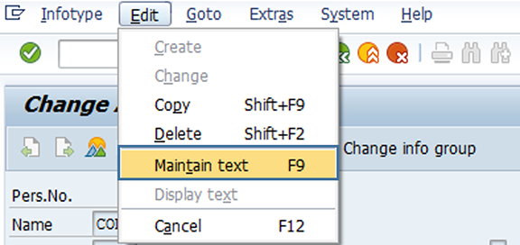 Screenshot of maintain text selection.