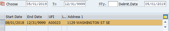 Screenshot of duty station address infotype.