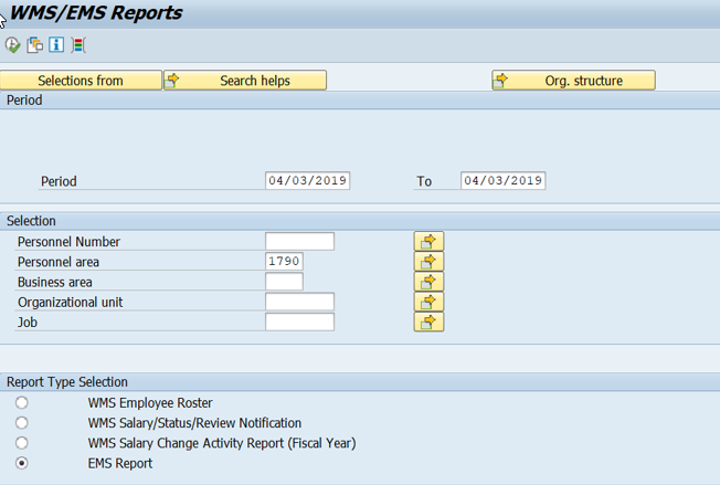 Screenshot of report selection screen.